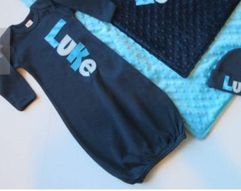 CUSTOM** Baby Boy Gown with matching Hat