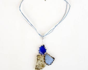 Blue Beach Glass Broken Found Object Pendant Necklace, Primitive Abstract Triangle Shape Stone and Ceramic Three Piece Wire Wrap Jewelry