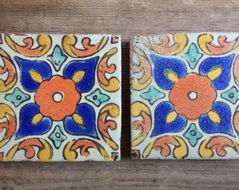 "Pair Antique D & M California Spanish Revival Hand Painted Decorative Tile 3 7/8"" square"