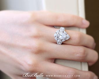 3.29 ct.tw Art Deco Pear Double Halo Engagement Ring-Pear & Marquise Cut Diamond Simulants-Split Shank-Bridal Ring-Sterling Silver [2854]