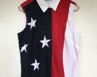 Vintage american flag button up tank / usa / american / Fourth of July / red white and blue / 1990s / vintage liz claiborne