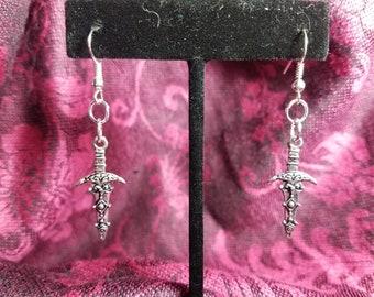 Handmade Athame Dagger Fishhook Earrings