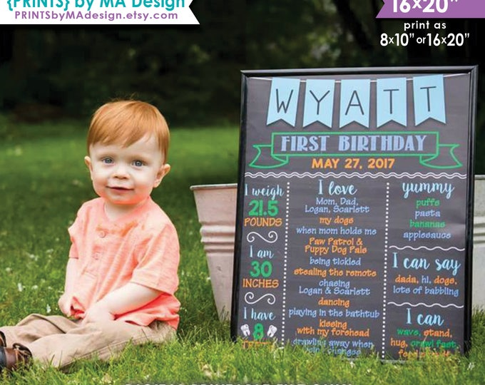 """First Birthday Poster 1st Boy's First B-day Personalized Milestones Sign, Custom Stats 8x10/16x20"""" Chalkboard Style Digital Printable File"""
