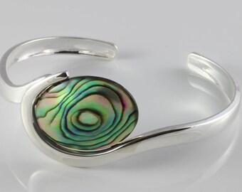 Natural Abalone, silver plated adjustable bangle