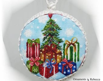 Christmas Ornament - Quilted Handmade Keepsake Ornament Under The Tree