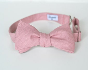 Dusty Pink Linen Bow Ties