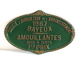 Vintage French Green Agricultural Plaque 1st Prize Bayeux Normandy 1967 - Farming Trophy