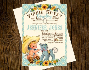 Cowboy Western Baby Shower Invitations Personalized Custom Printed Set of 12 Party Invites Vintage Ecru Rustic Blue Pony Sunflowers