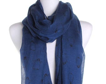 Blue Baby Penguin Scarf / Spring Summer Scarf / Autumn Scarf / Secret Santa Christmas Present / Gifts For Her / Handmade Fashion Accessories