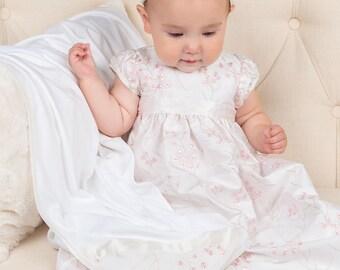 Cherry Blossom Blanket, Girls Christening Blanket, Silk Baby Girl Blanket