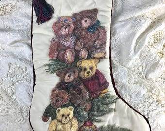 Christmas Stocking, Teddy Bears, Teddy Bear Christmas Stocking, Designer Stocking, Vintage Christmas Stocking, Heirloom Stocking