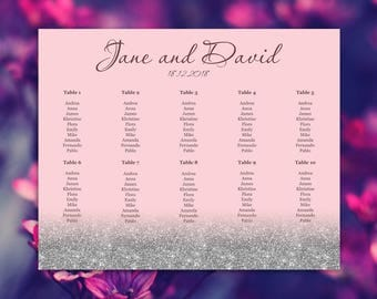 Pink blush seating chart, Silver, Blush, Wedding seating chart, Wedding seating chart, Printable seating chart, Any color available - S032