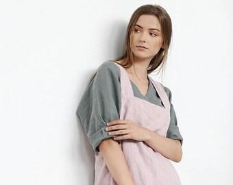 Linen apron. Linen woman apron. Stone washed linen apron. Linen pinafore apron. Linen full apron. Long apron. Natural apron/ #10D Apron