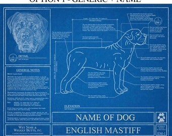 Personalized English Mastiff Blueprint / English Mastiff Art / English Mastiff Wall Art / English Mastiff Gift / English Mastiff Print
