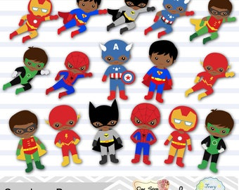 24 Little Boy Superheros Digital Clip Art, Boys Superhero Clipart, Superhero Party, Super Hero, Africa American Superhero Boys Clipart 0205