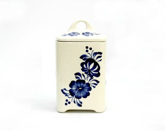 Hand Painted Coffee/Tea Canister, Made in Poland