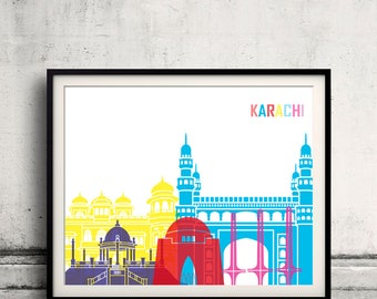 Karachi skyline pop - Fine Art Print Glicee Poster Gift Illustration Pop Art Colorful Landmarks - SKU 2481