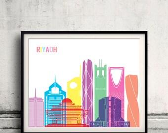 Riyadh V2 skyline pop - Fine Art Print Glicee Poster Gift Illustration Pop Art Colorful Landmarks - SKU 2543
