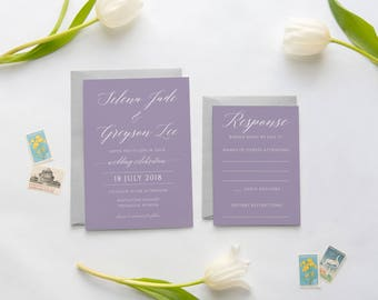Lavender Wedding Invitation, Purple Wedding Invitation, Modern Wedding Invitation, Calligraphy Invitations, Printed Wedding Invitations