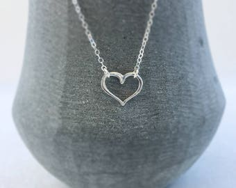 Sterling Silver Open Heart Necklace, Small Love Floating Heart Charm Necklace, Minimalist, Layering Necklace