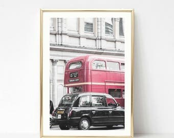 London Prints // Gallery Wall Art Decor // Pink Photography // London Taxi // Double Decker Bus