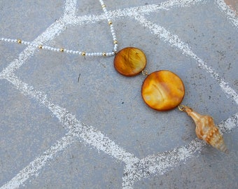 Natural seashell pendant pearl and gold necklace - boho mermaid merman necklace - ocean themed wood and real shell jewelry - beach jewelry