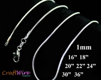 "925 Sterling Silver Plated Necklace Snake Chain 1.0mm 16"" 18"" 20"" 22"" 24"" 30"" 36"" Wholesale 1, 5, 10, 25, 50, 100 pc"