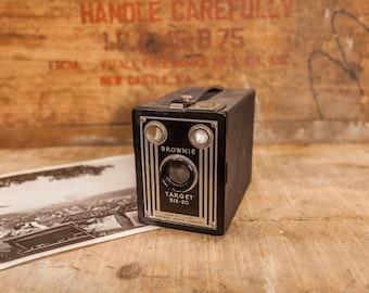 Vintage Kodak Brownie Target Six 20 Black Silver Box Camera Film Eastman Kodak Rochester NY Photo Prop Photography Decor