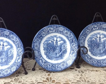 Liberty Blue English China Saucers Blue and White China Saucers Display Dishes Commerative Plates