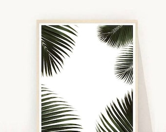 Tropical Wall Art, Palm Print, Leaf Print, Palm Leaves, Minimalist Poster, Printable Art, Instant Download, Wall Decor