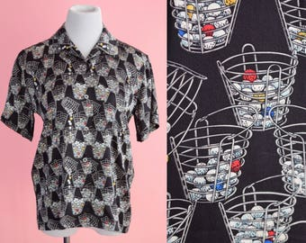Vintage Nicole Miller, Limited Edition Golf Shirt // Golf Ball Novelty Print, Silk Blouse, 1990s Oxford Top, Women Size Small