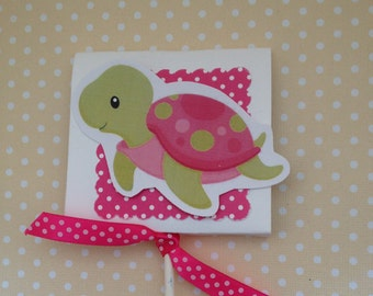 Pink or Blue Sea Turtles Party or Baby Shower Lollipop Favors - Set of 10