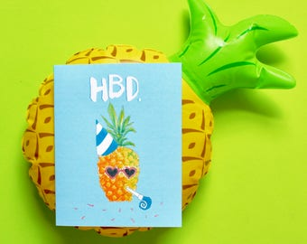 Pineapple Birthday Greeting Card, Funny Birthday Card, Happy Birthday, Birthday Gift, Best Friend Gift, Gift Idea, Cute Notecard, Hbd
