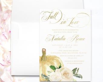 fall bridal shower invitation   elegant fall bridal shower invitation   bridal shower garden fall   fall bridal shower invitations printed