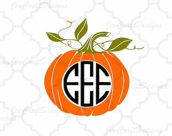 Pumpkin Monogram Frame SVG, Halloween Designs, SVG Files, Vector Art, Cricut Design Space, Silhouette Studio, Digital Cut   Files