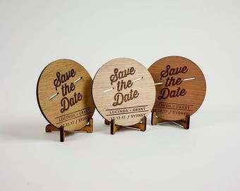 Wooden Wedding / Engagement Save the Date - Retro (x10)