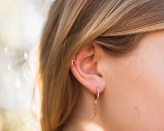 Silver dagger earrings | Gold dagger earrings | Huggie with charms | Unique huggie earrings | Edgy and dainty jewelry | Spike earrings