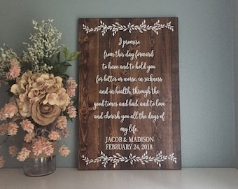 Wedding Vow Sign, Wedding Name and Date Sign, Rustic Wedding Decor, Wood Wedding Sign, Country Wedding Gift, Anniversary Gift
