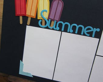 Premade Summer Scrapbook Layout/Premade Scrapbook Page/Popsicle Layout
