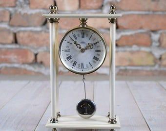 Working desk clock - Pendulum Clock - Office clock - Prim clock - Mechanical clock - Table clock - Czechoslovakia clock - Old wall clock