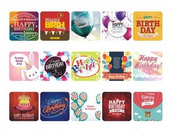 15 pcs birthday Stickers, birthday party, square Stickers, Planner Stickers stickers