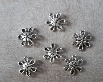 Connectors flowers connector round Sun ethnic connectors, silver - 9 x 3 mm