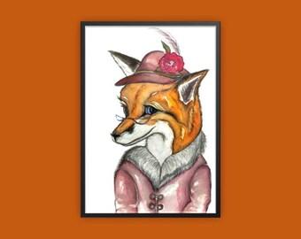 Fox print, old lady fox print, anthropomorphic fox print, fox art, fox dressed up print, quirky fox print, fox art