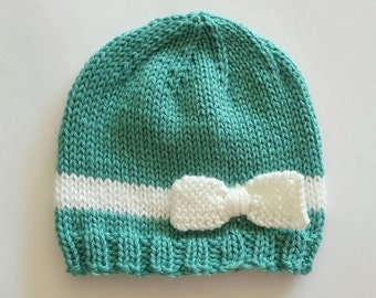 Baby girl bow beanie, teal and white, baby beanie
