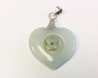 Vintage, Chinese, Jade heart pendant.