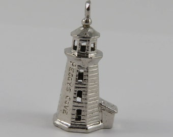 Peggy's Cove Lighthouse Halifax, Nova Scotia Sterling Silver Vintage Charm For Bracelet