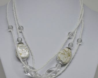 Gorgeous White Multi Strand Necklace