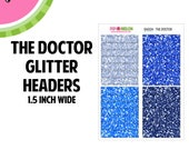THE DOCTOR Glitter Headers Labels | Tiny Bites Stickers | 28 Kiss-Cut Stickers | White Space, Functional Planning | GH004