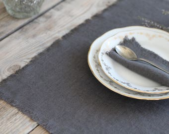 Dark Gray Linen Placemat / Pure Linen Placemats / Dinning Table Mat /  Placemat With Fringes