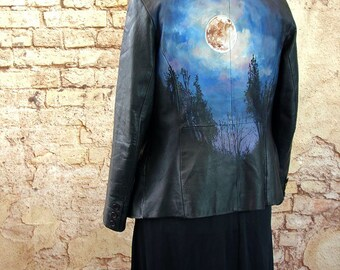 Customised leather jacket full moon forest gothic strega witch handpainted wearable art size 14